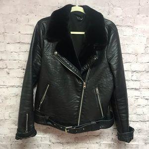 Top Shop women's leather faux fur jacket Sz 12